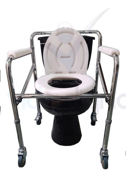 Silla Baño Comodo Cromado Aluminio Ruedas - Discapacitados