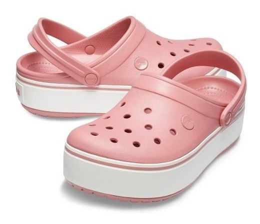 Crocs Crocband Platform Mujer-blosson White(rosa)