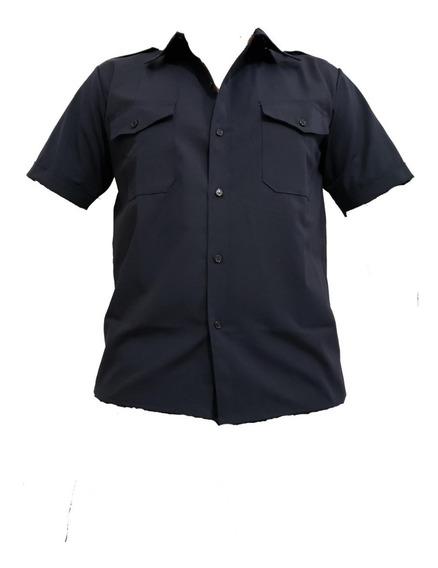 Camisa Manga Corta, Antidesgarro, Azul ,policia, Rip Stop