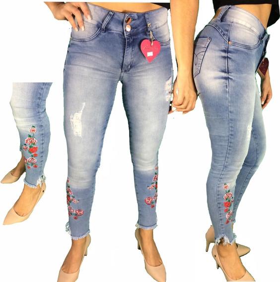 Roupas Femininas Calça Jeans Bordada Cós Alto Hot Pants