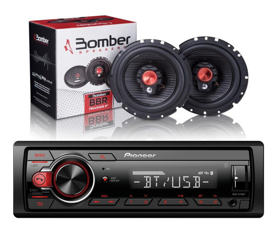Estereo Pioneer Mvh 215 Bt Usb Aux + Parlante Bomber Combo