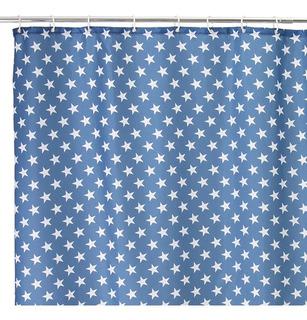 Cortina Baño Azul Con Estrellas Blancas 180 X 200 Cm