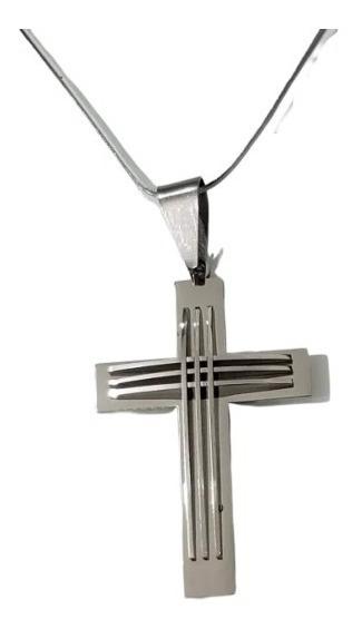 Corrente Masculina 70cm Em Aço + Crucifixo