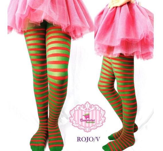 Pantimedias Malla Rayada Niña Bb Hallowen Disfraz Con Envio
