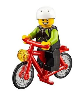 Lego City Minifigure Ciclista Con Bicicleta Lime Black Jacke