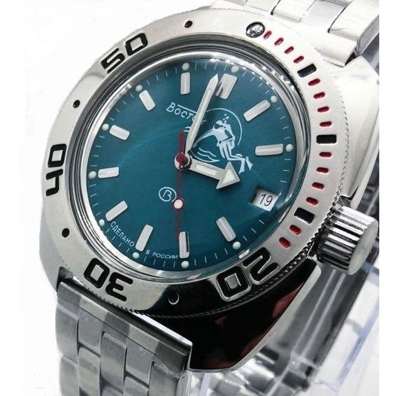 Reloj Amphibian Ruso Vostok (boctok) Verde-diver 200m