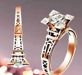 Anillo Compromiso Amor Torre Eiffel Oro 18k Diamante U