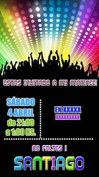 Boliche Baile Invitación Tarjeta Digital Imprimible Whatsapp