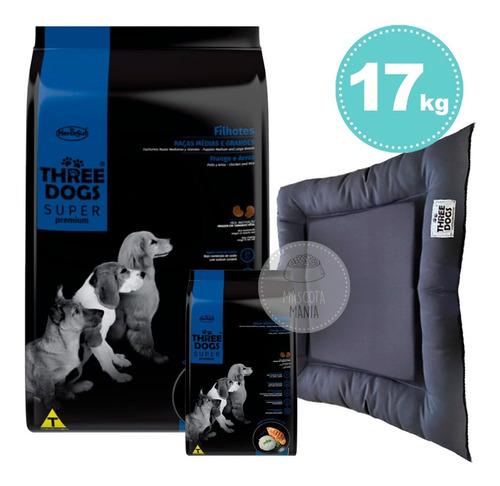 Imagen 1 de 4 de Three Dogs Cachorro Raza Mediana Grande 17kg + Contenedor