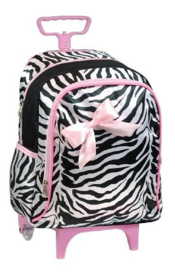 Mochila Com Rodinhas Infantil Bebê Pequena Zebra Rosa 6646