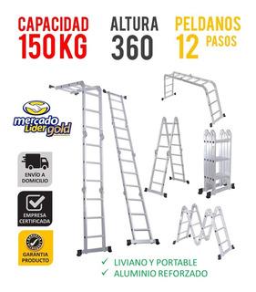 Escalera Multiusos Multiposicion 150 Kg 12 Pasos Aluminio