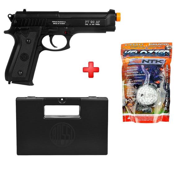 Pistola Airsoft Spring Taurus Pt92 Slide Metal + Bbs + Case