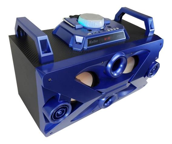 Caixa De Som Portátil Bluetooth Karaokê Com Microfone Azul