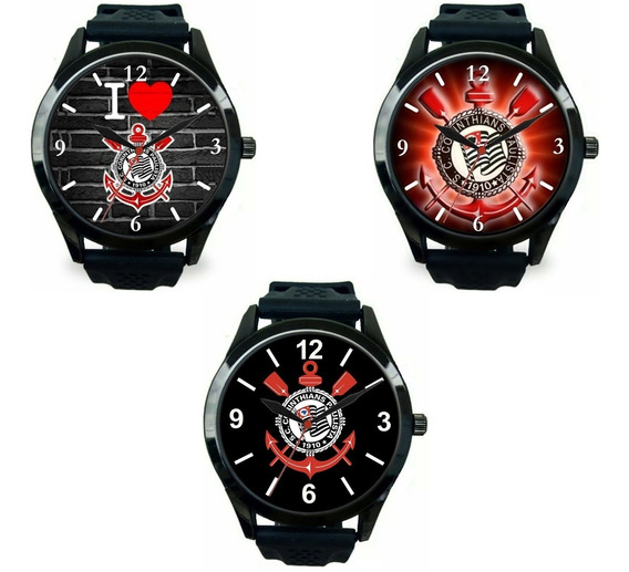 Kit 3 Relógios Pulso Esportivo Corinthians Personalizado