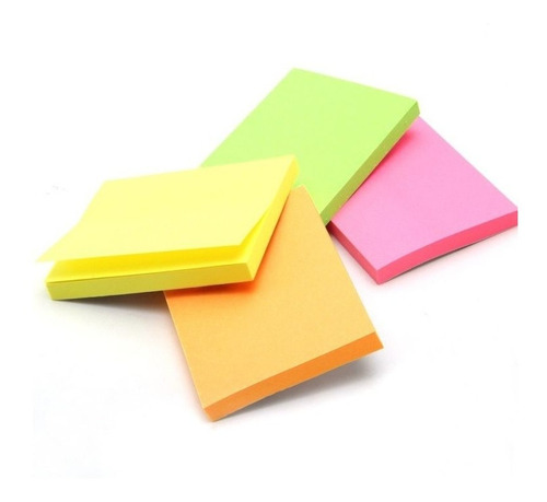 Kit Com 5 Blocos Adesivo Post-it Color 100x76mm Stick Note