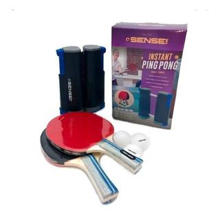 Set Ping Pong Sensei Instant Red Extensible + Paletas + Pel.
