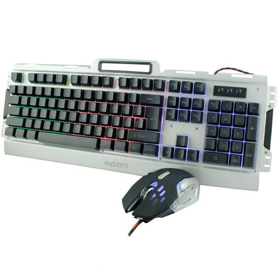 Kit Teclado E Mouse Gamer Semi-mecânico C/ Metal Led Prata