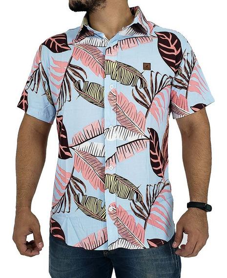Camisa Masculina Floral Listrada Estampada De Viscose