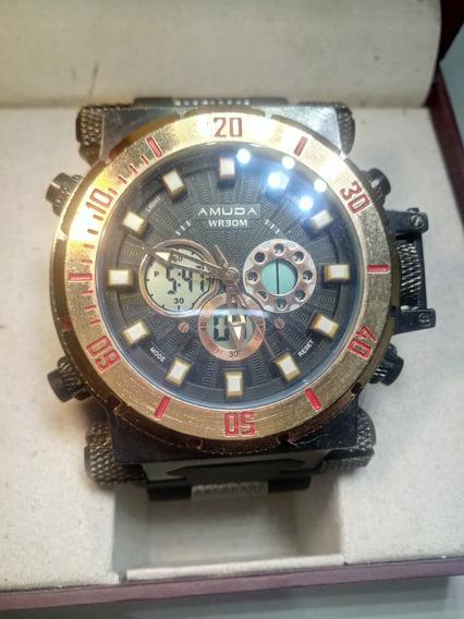 Relógio Mecanico Quartz Am5002 Cor Bronze Amuda Wr30m