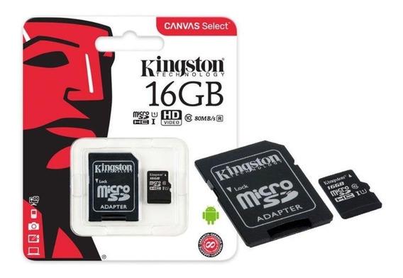 Cartão Memoria Micro Sd 16gb Classe10 Canvas 80mb/s C/ Nf