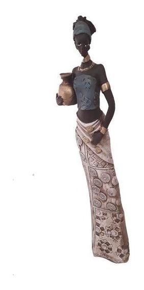 Estátua Africana 44 Cm Luxo Decoração