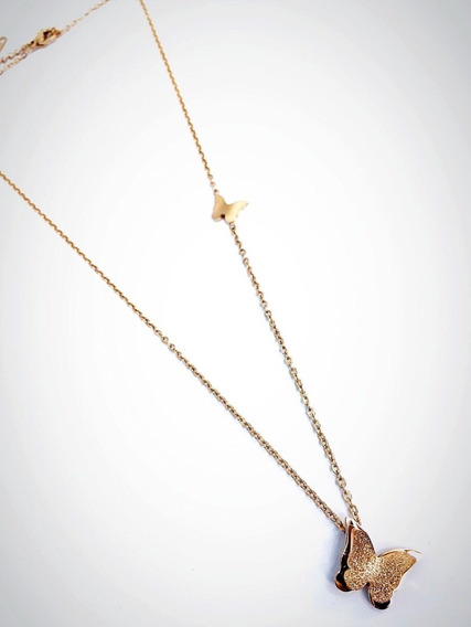 Collar Arete Acero Inoxidable Oro 18k Cadena Mariposa Doble