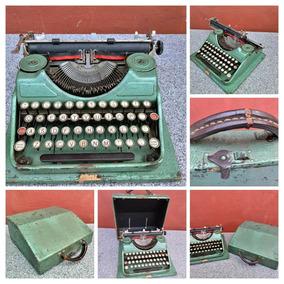 Maquina Escrever Antiguidade Caixa Madeira Funciona Sem Tint