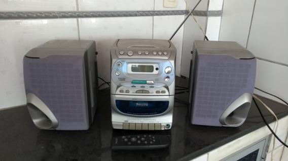 Mini Micro System Philips Az2425 Cd Tape Rádio Controle