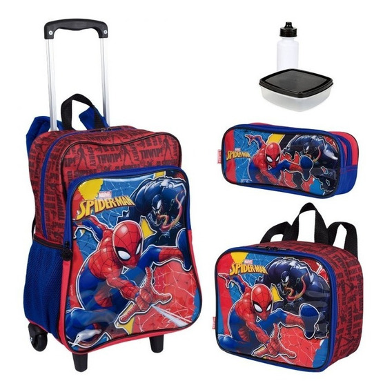 Kit Mochila Infantil Spiderman 19m Plus Lancheira Estojo Ses
