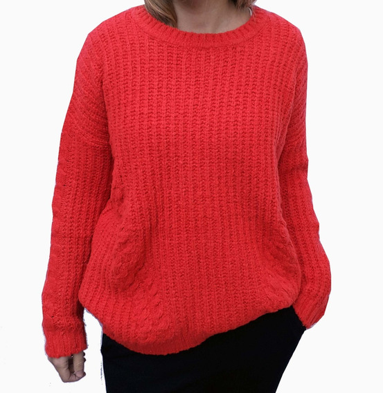 Sweater Pulouver Tejido Cuello Redondo Punto Inglés Mujer