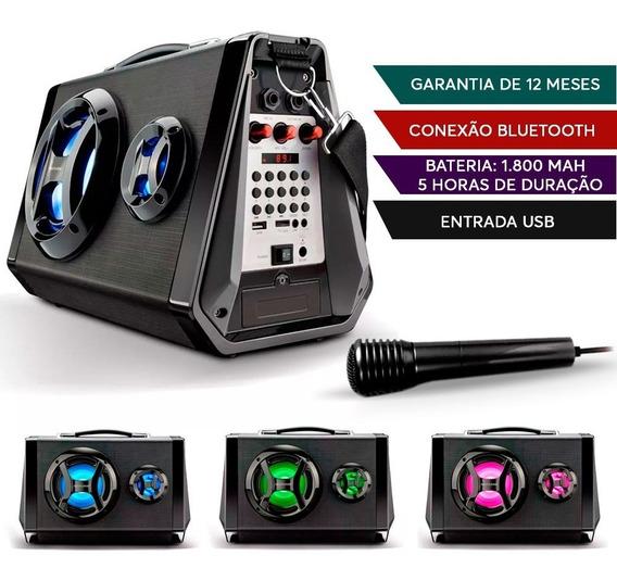 Caixa Som Amplificada Portátil Bluetooth Usb Karaokê Festas