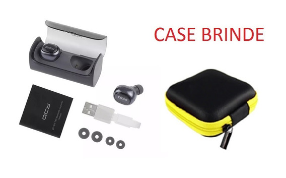 Fone De Ouvido Sem Fio Bluetooth Qcy Q29 Microfone + Brinde