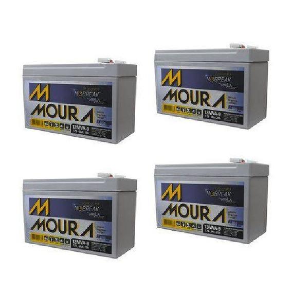 Kit 4 Baterias Moura Bike Elétrica/no Break/alarme 12mva-9