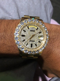 Relógio Rolex Cravejado Dourado