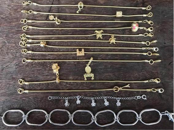 Kit Revenda 13 Pulseiras Folheadas Ouro Prata