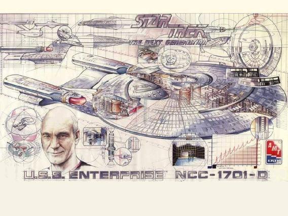 Star Trek Pôster Schematics Uss Enterprise 1701 A/d Original