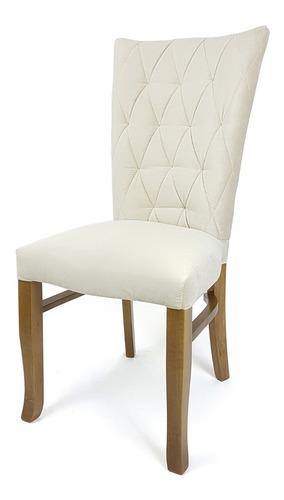 Cadeira De Jantar Delta Estofada C/ Captonê Madeira Maciça