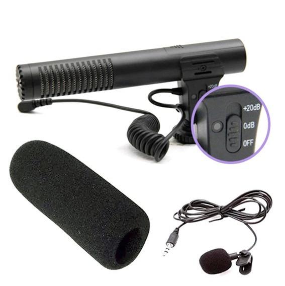 Microfone Shotgun Direcional Para Câmera Dslr E Lapela