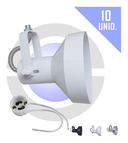 Imagem 1 de 8 de Spot P/ Lâmpada Ar111 Trilho Perfilado Eletrocalha 10 Unidad