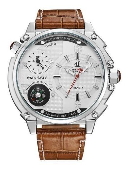 Relógio Masculino Couro Uv-1507 Branco Universe Masculino