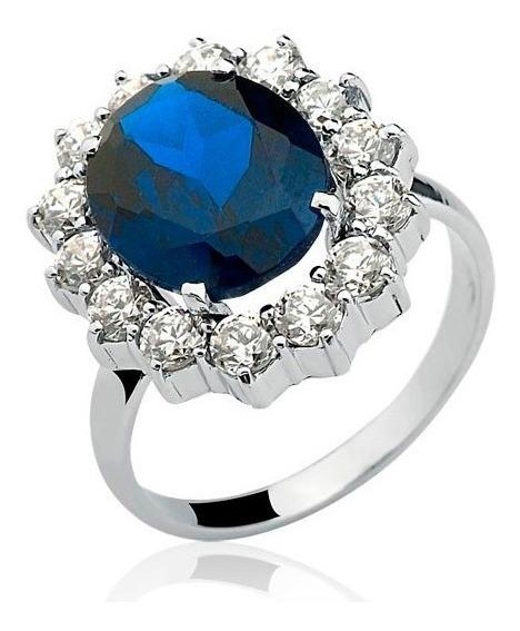 Anel Noivado Princesa Kate Ouro Branco 10k Safira Azul A82