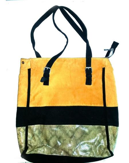 Cartera Tote Bag Isadora,color Mostaza,mezcla Texturas