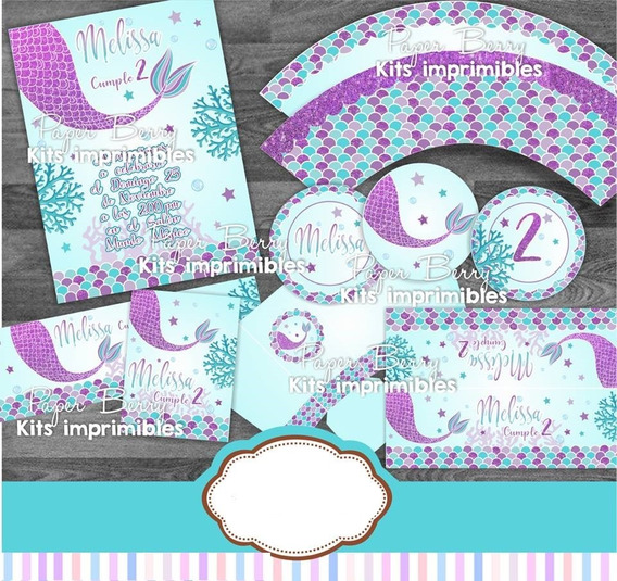 Kit Imprimible Sirena Pb01 Invitacion Decoracion
