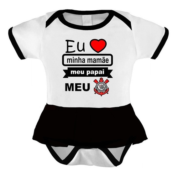 Body Vestido Time Do Corinthians - Roupinha Bebê Menina