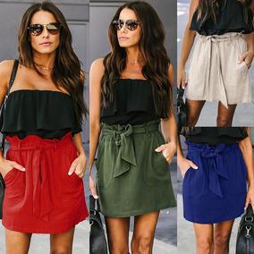 70b9731e33 Falda Mujeres Color Sólido Elástico Vendaje Tie Cintura Alto