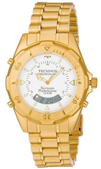 Relógio Masculino Technos Skydiver Dourado T20557/49b