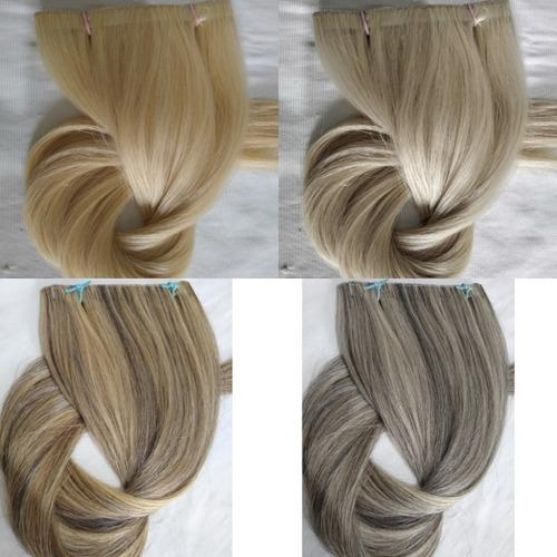 Imagem 1 de 1 de Cabelo Humano Loiro Fita Adesiva Inteira 100g 50cm Mega Hair