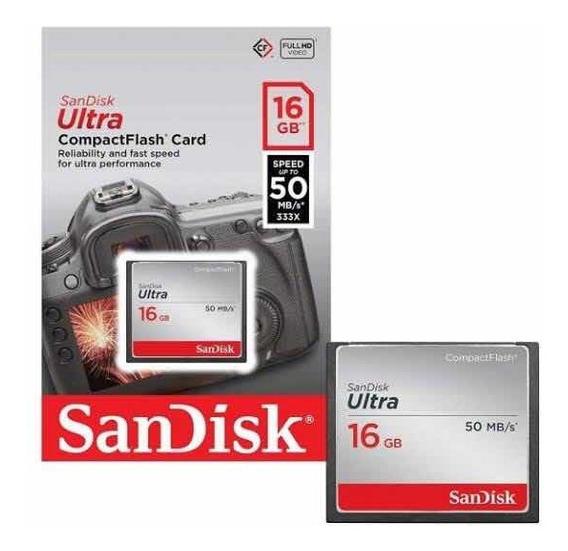 Cartão Memória Sandisk 16gb Ultra Compact Flash 50x Sdcfhs