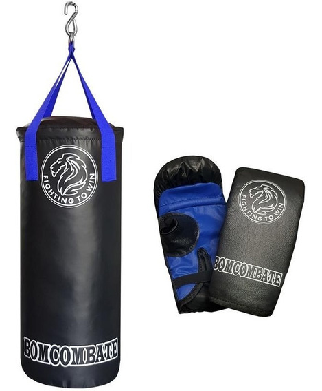 Saco De Pancada Muay Thai (60x30) E Par De Luva Adulta Azul