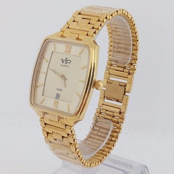 Relógio Vip Quartz Quadrado Mh 263 Dourado Pérola Original